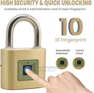 Unity Brass Fingerprint Padlock 2''(50mm), USB Rechargeable | Security & Surveillance for sale in Lagos State, Ibeju