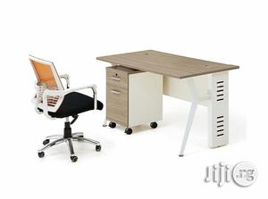 Oak Office Table With Metal Legs and Mobile Drawer. | Furniture for sale in Lagos State, Ikoyi