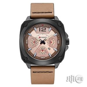 Men's Luxury Brown Suede Leather Quartz Army Military Watch   Watches for sale in Lagos State