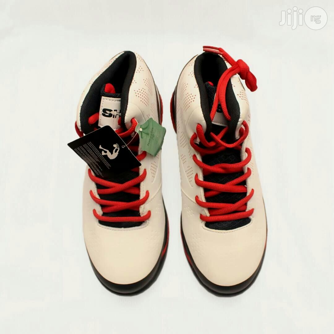 Archive: Red Lace and White High Top Sneaker Canvas