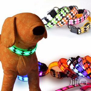 Safety Pets Dogs LED Collar Lighted Up Nylon Rhombus Pattern   Pet's Accessories for sale in Lagos State